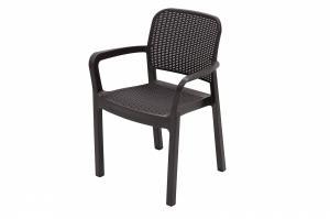 DEOKORK Záhradná plastová stolička KARA (hnedé)