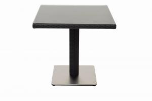 DEOKORK Záhradný ratanový stôl GINA 80x80 cm (čierna)