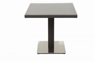 DEOKORK Záhradný ratanový stôl GINA 80x80 cm (hnedá)