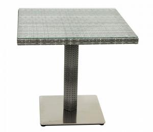 DEOKORK Záhradný ratanový stôl GINA 80x80 cm (sivá)