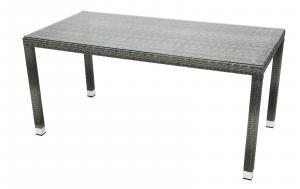DEOKORK Záhradný ratanový stôl NAPOLI 160x80 cm (sivá)