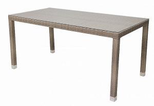 Deokork Záhradný ratanový stôl NAPOLI 160x80 cm (sivo-béžová)