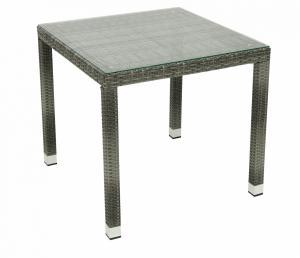 DEOKORK Záhradný ratanový stôl NAPOLI 80x80 cm (sivá)
