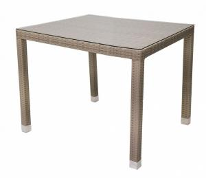 DEOKORK Záhradný ratanový stôl NAPOLI 80x80 cm (sivo-béžová)