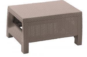 DEOKORK Záhradný ratanový stolík CORFU (cappuccino)