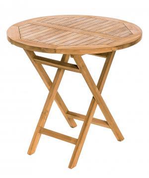 DEOKORK Záhradný skládací stôl IVORY ⌀ 80 cm (teak)