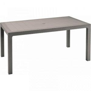 DEOKORK Záhradný stôl z umelého ratanu MANHATTAN 161x95 cm (cappuccino)