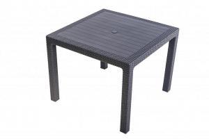 DEOKORK Záhradný stôl z umelého ratanu MANHATTAN 95x95 cm (antracit)