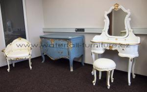 Designová modrošedá komoda Baroque Pompadour