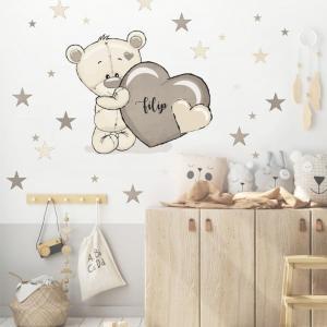 Detská nálepka na stenu - Medvedík s menom