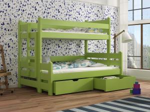 Detská poschodová posteľ 90 cm - Bivi (zelená). Akcia -31%