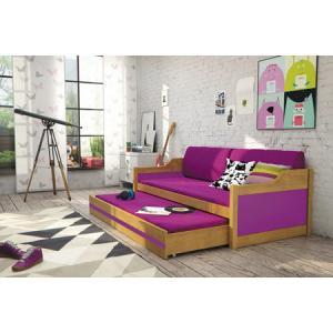 Detská posteľ alebo gauč s výsuvnou posteľou DAVID 190x80 cm Růžová Bílá