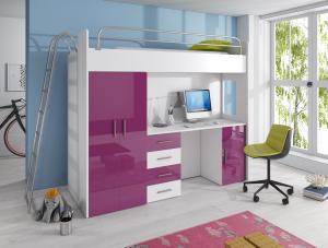 Detská posteľ - Ruby IV D (Biela + Fialová) (s roštom a matracom). Akcia -31%. Doprava ZDARMA.