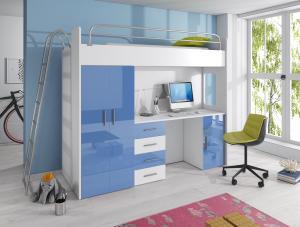 Detská posteľ Ruby IV D (Biela + Modrá) (s roštom a matracom)