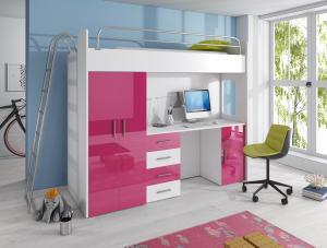 Detská posteľ Ruby IV D (Biela + Ružová) (s roštom a matracom)