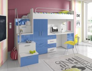 Detská posteľ Ruby IV S (Biela + Modrá) (s roštom a matracom)
