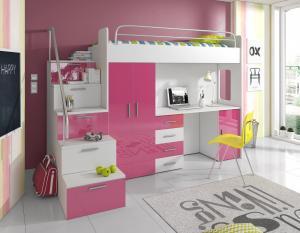 Detská posteľ - Ruby IV S (Biela + Ružová) (s roštom a matracom). Akcia -31%