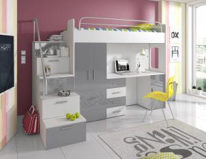 Detská posteľ Ruby IV S (Biela + Sivá) (s roštom a matracom)