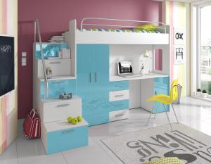 Detská posteľ Ruby IV S (Biela + Tyrkysová) (s roštom a matracom)