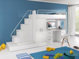 Detská posteľ Ruby V (Biela + Biela) (s roštom a matracom)