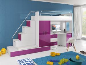 Detská posteľ Ruby V (Biela + Fialová) (s roštom a matracom)
