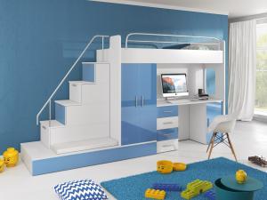 Detská posteľ Ruby V (Biela + Modrá) (s roštom a matracom)
