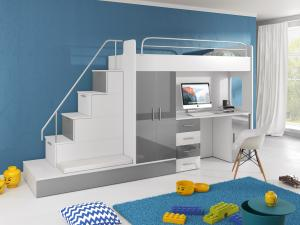 Detská posteľ Ruby V (Biela + Sivá) (s roštom a matracom)