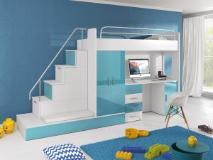 Detská posteľ Ruby V (Biela + Tyrkysová) (s roštom a matracom)