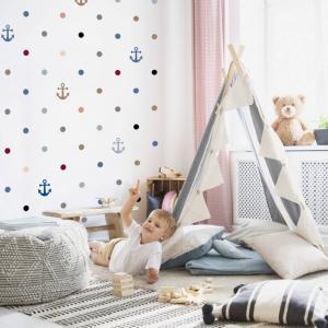 Detská šablóna na stenu - Kotva a guličky