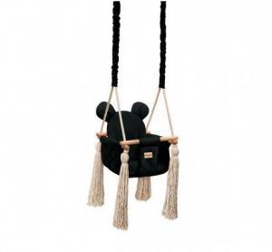 Detská sedačková hojdačka Mouse - Čierna