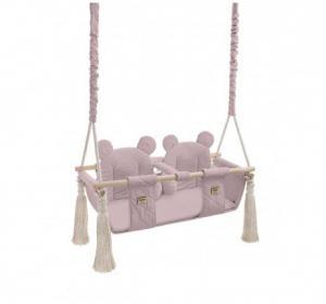 Detská sedačková hojdačka pre dvojičky Mouse - Sepia rose