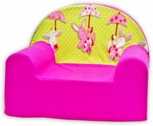 Detské kresielko / pohovečka Nellys ® - Zajačik a dáždnik v ružovej