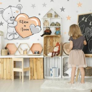 Detské nálepky na stenu, marhuľové hviezdy s mackom