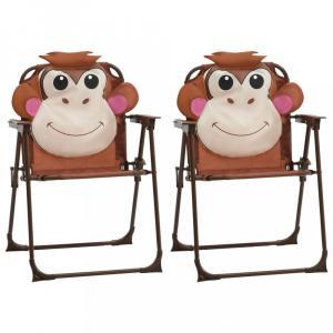 Detské záhradné stoličky 2 ks Dekorhome Hnedá