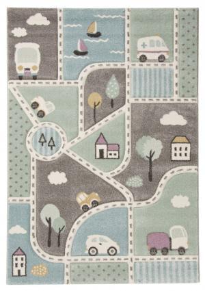 Detský koberec Cesta ulíc Pastel Kids 24193 954 zelená