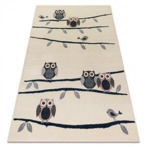 Detský koberec Owi krémovo-modro-ružový