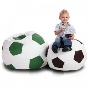 Ecopuf Detský MINI sedací vak ECOPUF - FOOTBALL S - ekokoža E13 - Tmavo hnedá