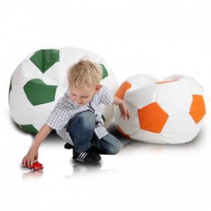 EF1003 Ecopuf Detský MINI sedací vak ECOPUF - FOOTBALL S - ekokoža E4 - Oranžová