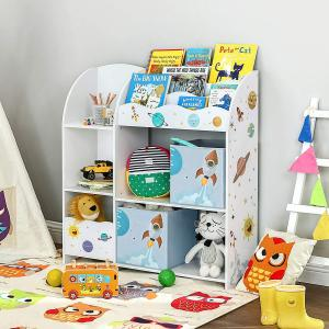 Dětský regál na knihy a hračky vesmírné motivy 93  x 100 x 30cm