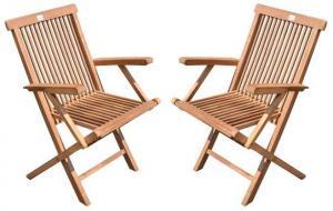 DIVERO skladacia stolička z tíkového dreva, 2 ks