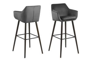 Dizajnová barová stolička Almond, tmavosivá / tmavohnedá