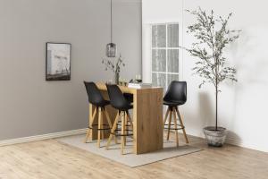 Dizajnová barová stolička Nascha, čierna-prírodná