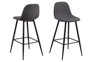 Dizajnová barová stolička Nayeli, šedá a čierna