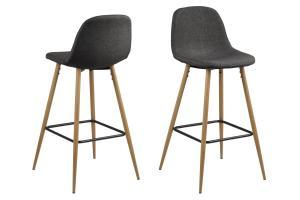 Dizajnová barová stolička Nayeli, šedá a prírodná