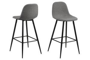 Dizajnová barová stolička Nayeli, svetlo šedá a čierna