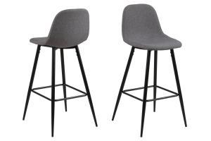 Dizajnová barová stolička Nayeli, svetlo šedá a čierna 91 cm