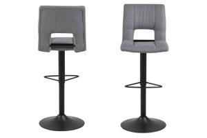 Dizajnová barová stolička Nerine, svetlo šedá a čierna-tkanina