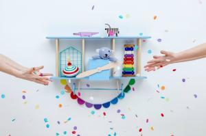 Dizajnová detská polička lietadlo Bigplane - modrá