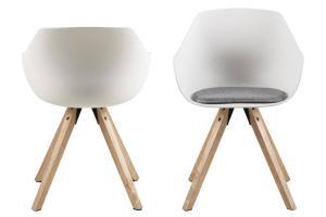 Dizajnová jedálenská stolička Nerys, biela a prírodná