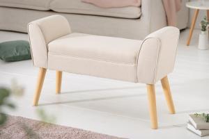 Dizajnová lavica Dafina 90 cm ľan béžová